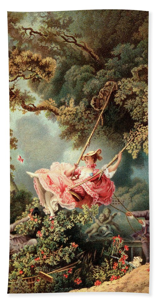 Vertical Bath Towel featuring the painting 1700s 1767 The Swing By French Painter by Vintage Images