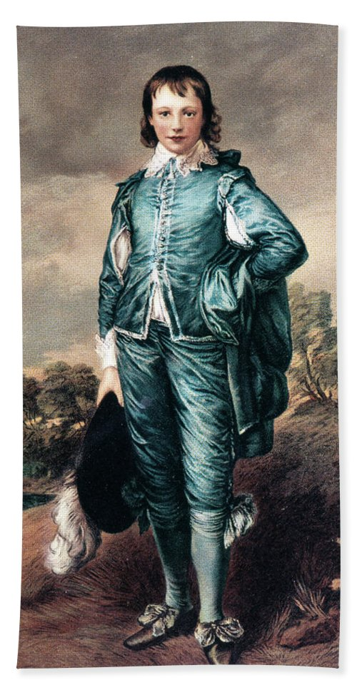 Vertical Bath Towel featuring the painting 1700s The Blue Boy Oil Painting by Vintage Images