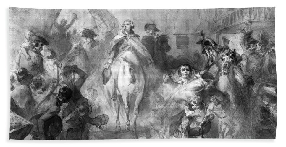 1783 Hand Towel featuring the photograph George Washington by Granger