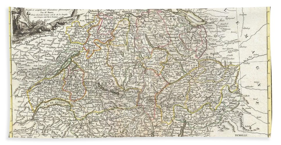 A Beautiful Example Of Rigobert Bonne's Decorative Map Of Switzerland. Covers The Entirety Of Switzerland Divided Into Cantons. Offers Excellent Detail Throughout Showing Mountains Hand Towel featuring the photograph 1771 Bonne Map Of Switzerland by Paul Fearn