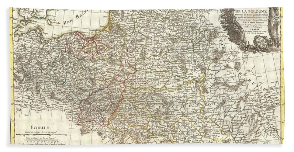 A Beautiful Example Of Rizzi-zannoni's C. 1771 Decorative Map Of The Poland And Its Tributaries. Covers From Denmark And Germany Eastward To Russia Hand Towel featuring the photograph 1771 Zannoni Map Of Poland And Lithuania by Paul Fearn