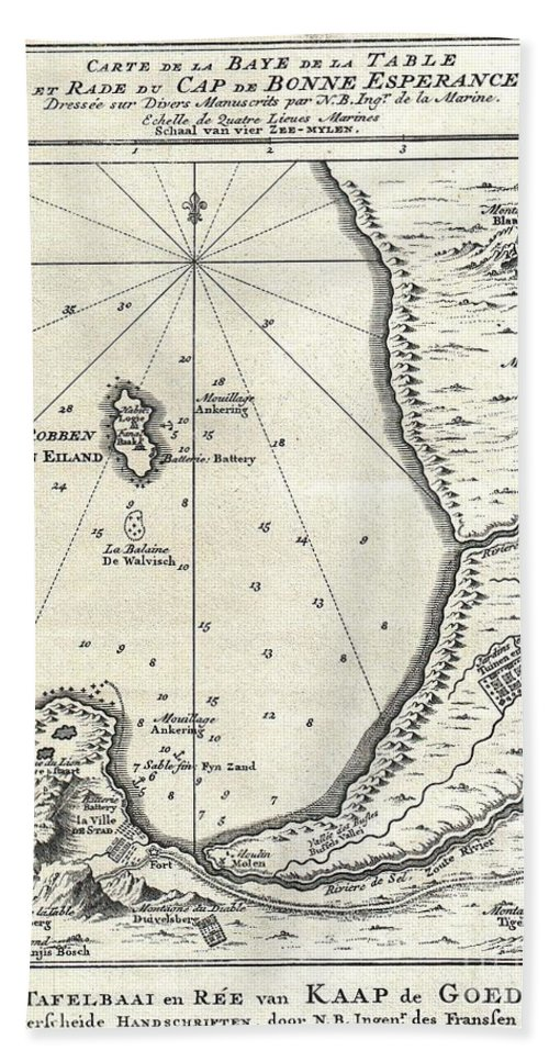 1773 Bellin Map Of The Cape Of Good Hope Capetown South Africa Hand Towel