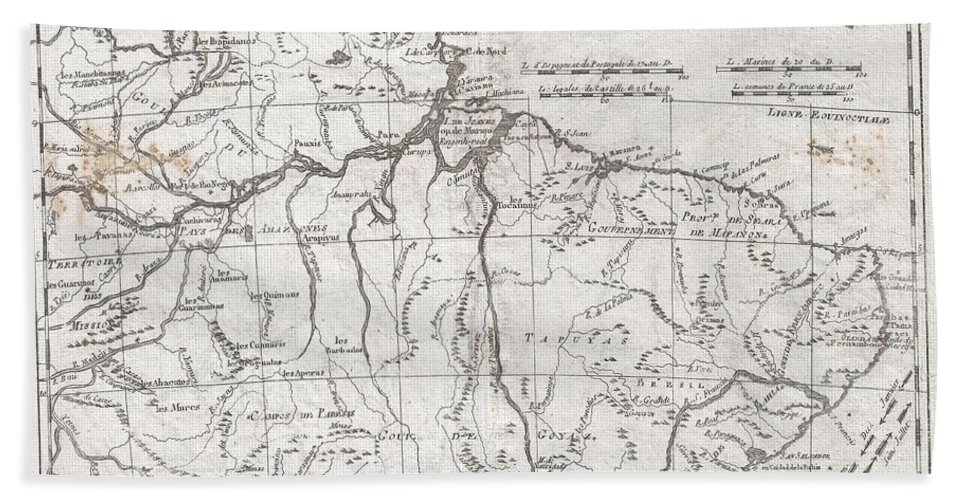 A Fine Example Of Rigobert Bonne And Guilleme Raynal's 1780 Map Of Northern Brazil. This Detailed Map Features The Northern Portion Of Brazil From Bahia To Guyana. This Also Includes A Portion Of The Amazon River And Its Adjancet Rainforest Bath Towel featuring the photograph 1780 Raynal And Bonne Map Of Northern Brazil by Paul Fearn