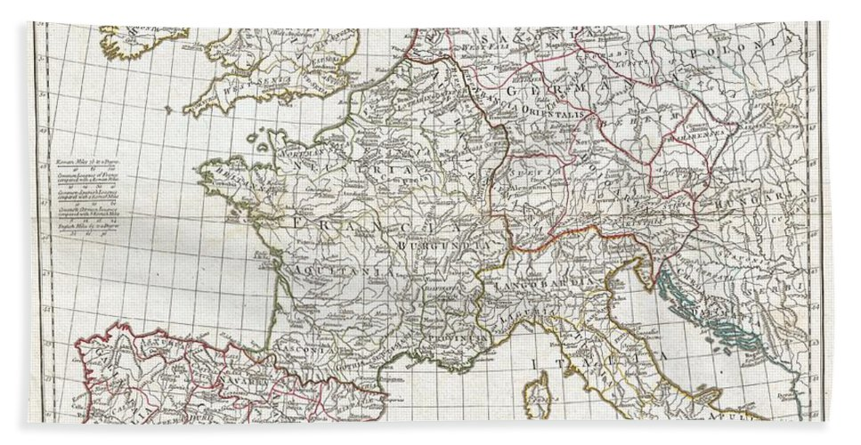 A Large And Dramatic 1794 J. B. B. D'anville Map Of Western Europe. Covers From The British Isles South To Spain And East As Far As Hungary Hand Towel featuring the photograph 1794 Anville Map Of Europe In Late Roman Times by Paul Fearn