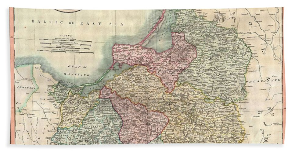An Extremely Attractive Example Of John Cary's 1799 Map Of Prussia. Covers From Pomerania Eastward Along The Baltic Coast As Far As Poland Bath Sheet featuring the photograph 1799 Cary Map Of Prussia And Lithuania by Paul Fearn