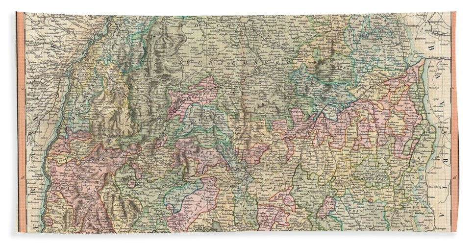 An Extremely Attractive Example Of John Cary's 1799 Map Of The Swabia Region Of Germany. Covers From The Upper Rhine Region South As Far As Switzerland Bath Sheet featuring the photograph 1799 Cary Map Of Swabia Germany by Paul Fearn