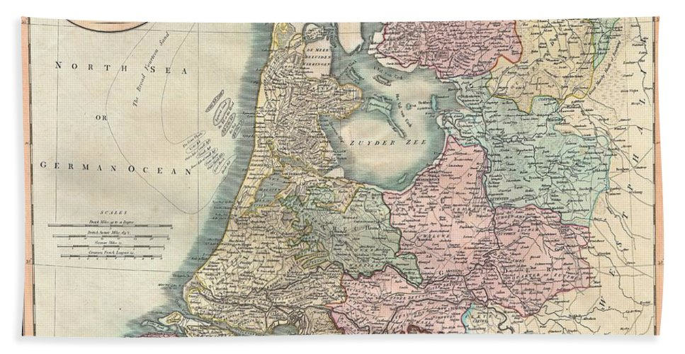 An Extremely Attractive Example Of John Cary's 1799 Map Of The Netherlands. Consists Of The Provinces Of Holland Bath Sheet featuring the photograph 1799 Cary Map Of The Netherlands by Paul Fearn