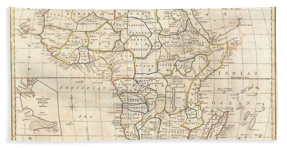 : A Fine 1799 Map Of Africa By The English Map Publisher Clement Cruttwell. Covers The Entire Region Bath Sheet featuring the photograph 1799 Clement Cruttwell Map Of Africa by Paul Fearn