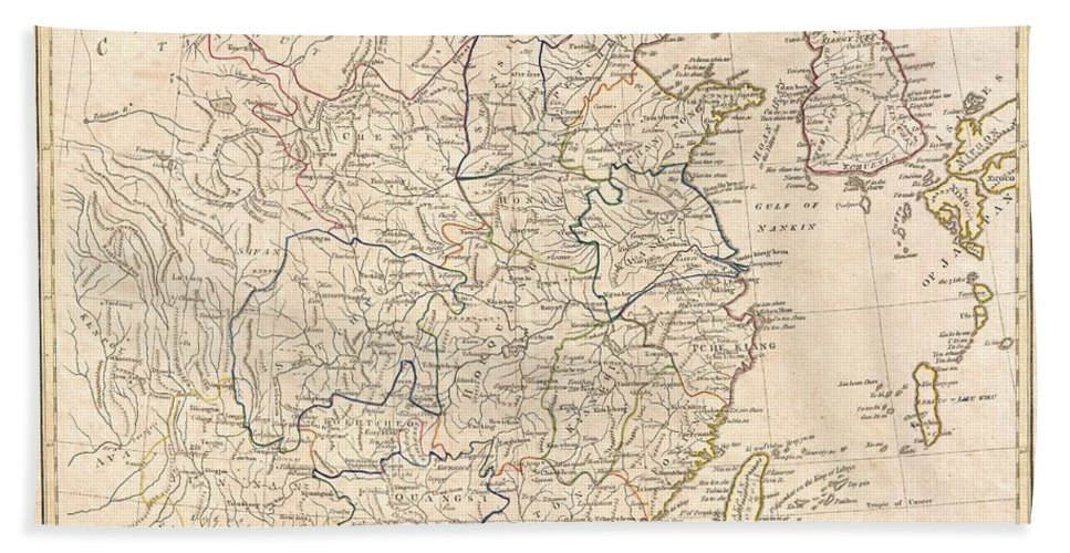 A Fine 1799 Map Of China By The English Mapmaker Clement Cruttwell. Includes The Modern Day Provinces Of Sichuan (setchuen) Bath Sheet featuring the photograph 1799 Clement Cruttwell Map Of China Korea And Taiwan by Paul Fearn