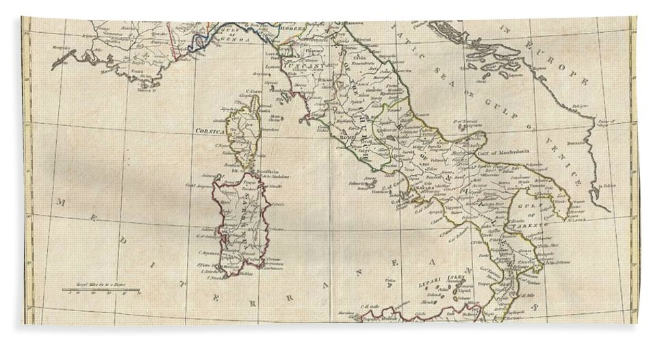 A Fine 1799 Map Of Italy By The English Map Publisher Clement Cruttwell. Shows The Entire Country Including The Islands Of Sicily Bath Sheet featuring the photograph 1799 Clement Cruttwell Map Of Italy by Paul Fearn