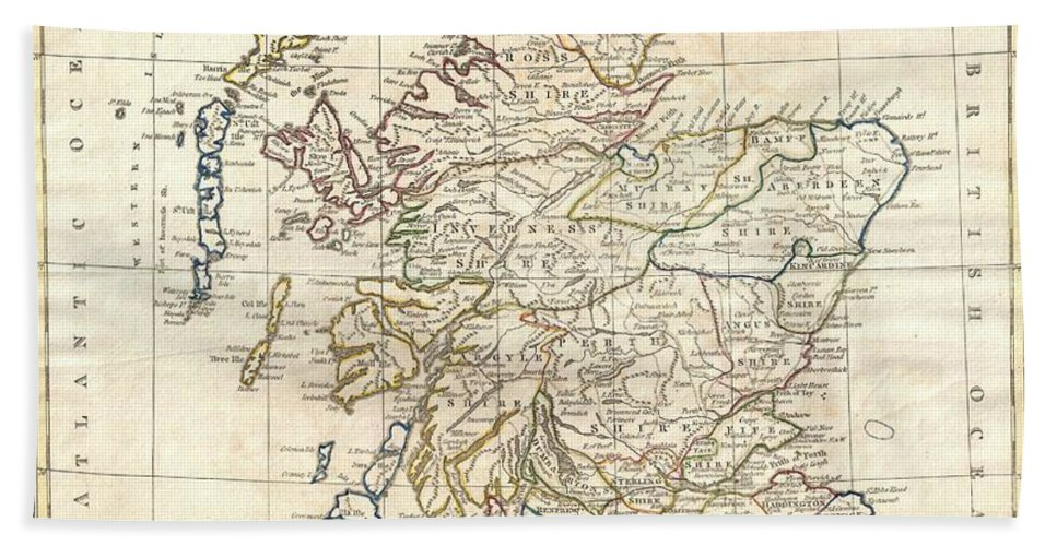 A Fine 1799 Map Of Scotland By The English Map Publisher Clement Cruttwell. Covers The Entire Region In Great Detail Bath Sheet featuring the photograph 1799 Clement Cruttwell Map Of Scotland by Paul Fearn