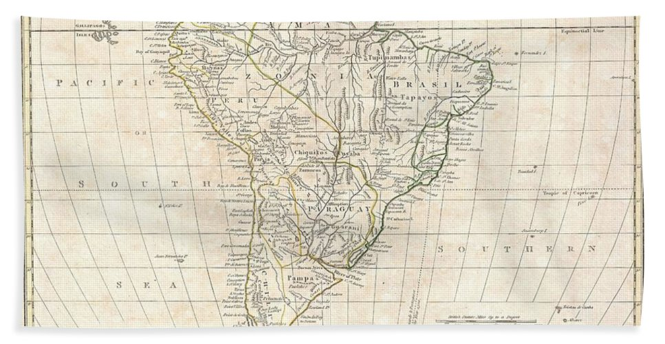 A Fine 1799 Map Of South America By The English Mapmaker Clement Cruttwell. Covers All Of South America As Well As Parts Of Central America As Far North As Honduras. Crutwell Identifies A Number Of Indigenous Peoples Throughout As Well As Missions Stations And Fortifications. The Line Of Demarcation Bath Sheet featuring the photograph 1799 Clement Cruttwell Map Of South America by Paul Fearn