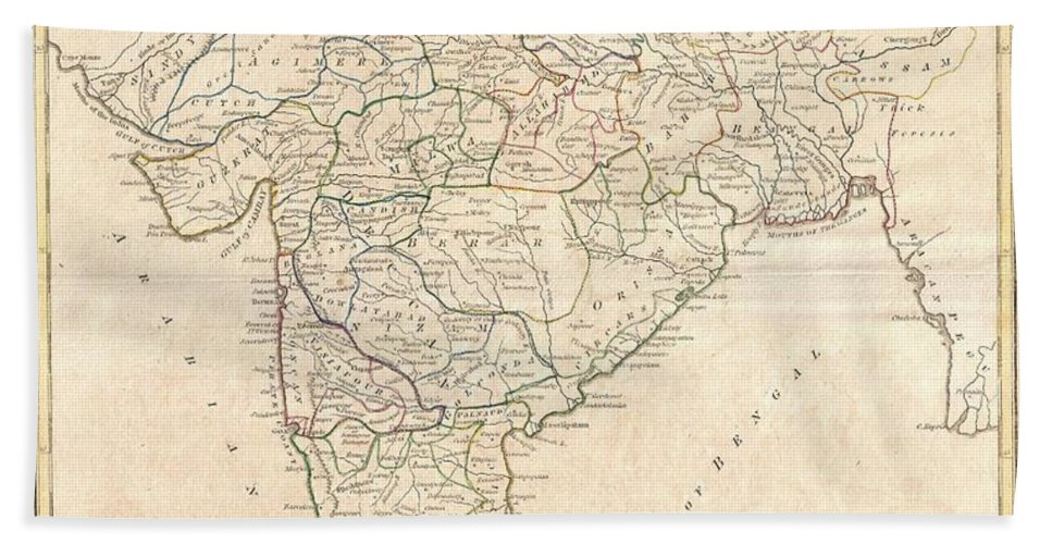 A Fine 1799 Map India Bath Sheet featuring the photograph 1799 Clement Crutwell Map Of Hindoostan by Paul Fearn