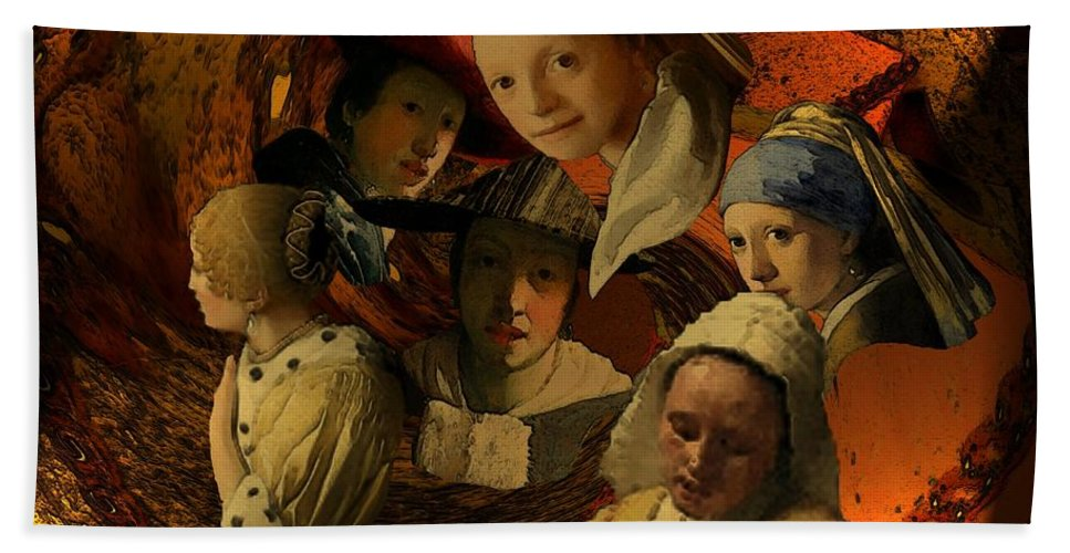 17th-century Hand Towel featuring the digital art 17th Century Maidens by Tristan Armstrong