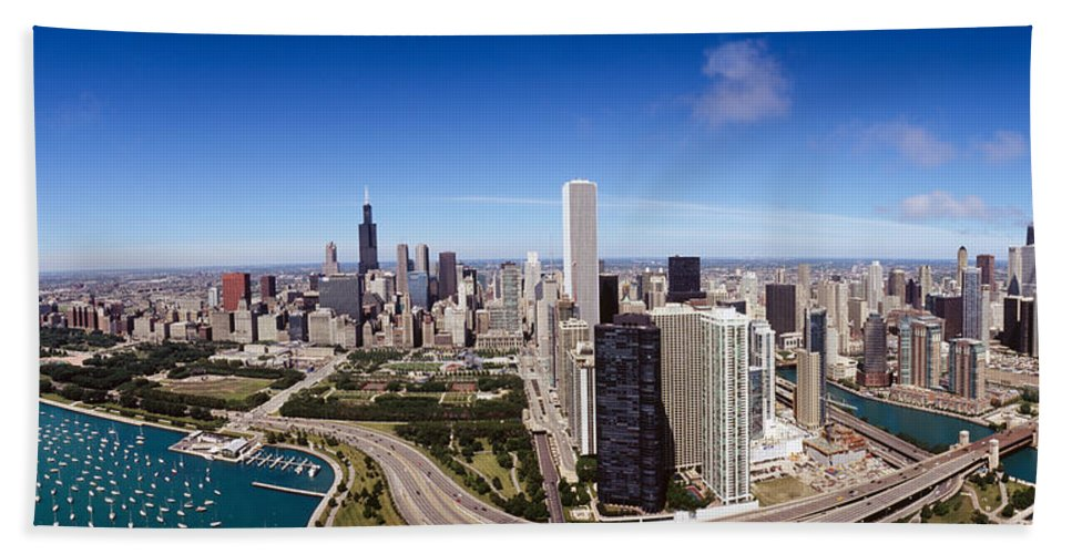 Photography Hand Towel featuring the photograph Aerial View Of Buildings In A City by Panoramic Images