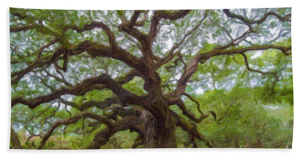 Angel Oak Tree Hand Towel featuring the digital art Southern Angel Oak by Dale Powell