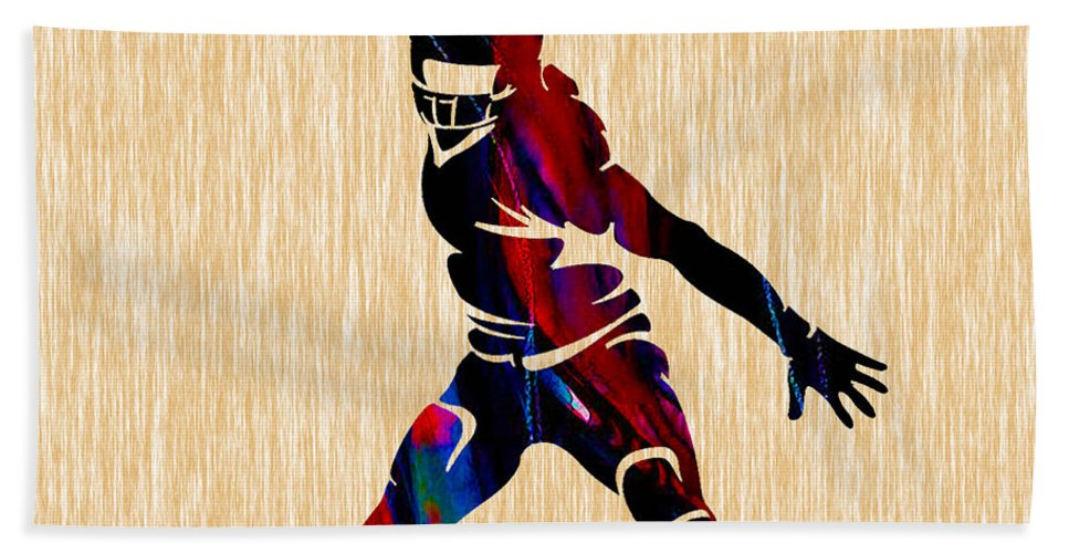 Football Bath Sheet featuring the mixed media Football by Marvin Blaine