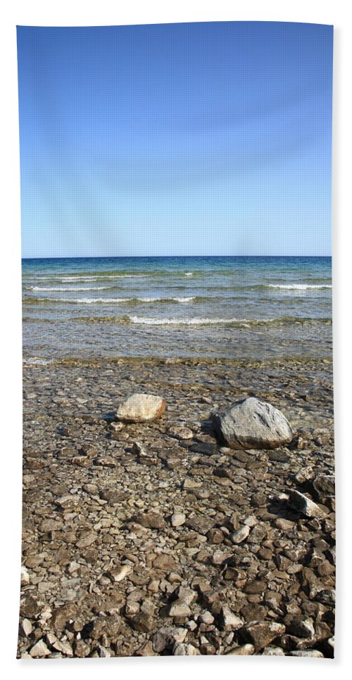 America Hand Towel featuring the photograph Lake Huron by Frank Romeo