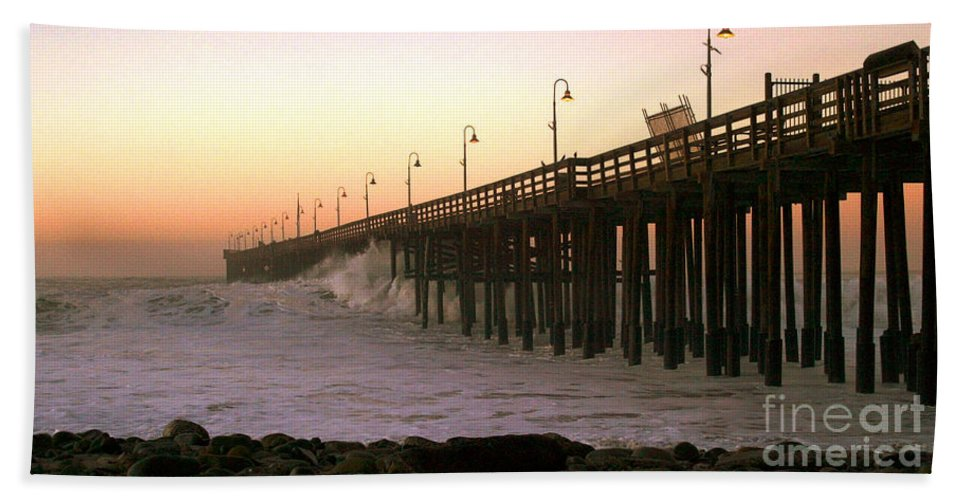Sunrise Bath Sheet featuring the photograph Ocean Wave Storm Pier by Henrik Lehnerer