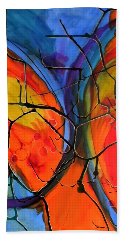 Abstract Hand Towel featuring the painting 18 X 24.1 by Art by Kar