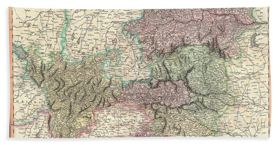 An Extremely Attractive Example Of John Cary's Important 1801 Map Of The Austria. Covers From Lake Constance Eastward As Far As Lake Pelso And The Hungarian Border. Extends Southward To Include The Duchy Of Tyrol Bath Sheet featuring the photograph 1801 Cary Map Of Austria by Paul Fearn