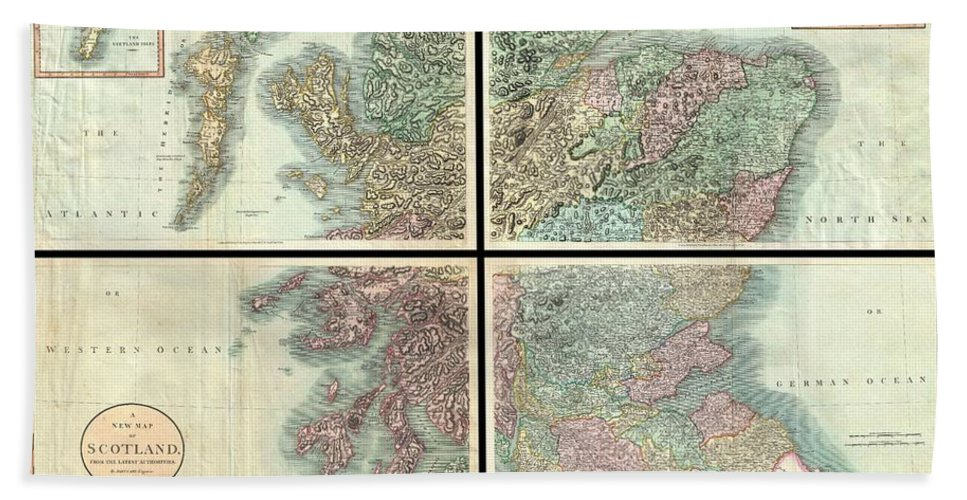 A Very Attractive Example Of John Cary's Stupendous Four Sheet 1801 Map Of Scotland. Covers The Entirety Of Scotland As Well As Parts Of Neighboring England And Ireland. Inset Maps Detail The Orkney Islands And The Shetland Islands. Offers Extraordinary Detail On The Whole Of Scotland With Special Attention To Topography Bath Towel featuring the photograph 1801 Cary Map Of Scotland by Paul Fearn
