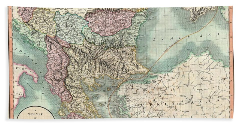 An Exceptionally Beautiful Example Of John Cary's Important 1801 Map Of Turkey In Europe. Covers From The Adriatic Eastward To Crimea And Southwards As Far As Crete And Cyprus. While Technically A Map Of Ottoman Holdings In Europe Bath Sheet featuring the photograph 1801 Cary Map Of Turkey In Europe Greece And The Balkan by Paul Fearn