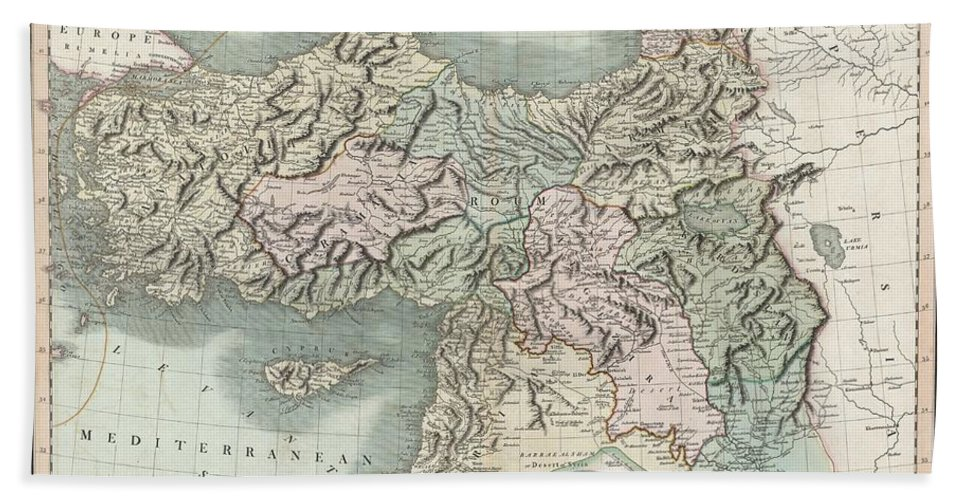 This Is A Stunning 1801 Map Of Turkey In Asia By English Cartographer John Cary. Depicts The Vast Regions In Asia Controlled By The Ottoman Empire At The Close Of The 18th Century. Includes The Modern Day Nations Of Turkey Bath Sheet featuring the photograph 1801 Cary Map Of Turkey Iraq Armenia And Sryia by Paul Fearn