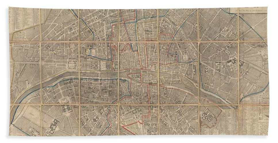 An Extraordinary Map Of Pre-haussmann Paris And The Early Faubourgs (suburbs) Issued In 1802 Bath Sheet featuring the photograph 1802 Chez Jean Map Of Paris In 12 Municipalities France by Paul Fearn