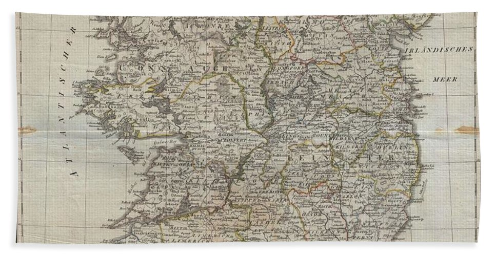An Uncommon Map Of Ireland Dating To 1804. Though Published By The German Geographical Institute Bath Towel featuring the photograph 1804 Jeffreys And Kitchin Map Of Ireland by Paul Fearn