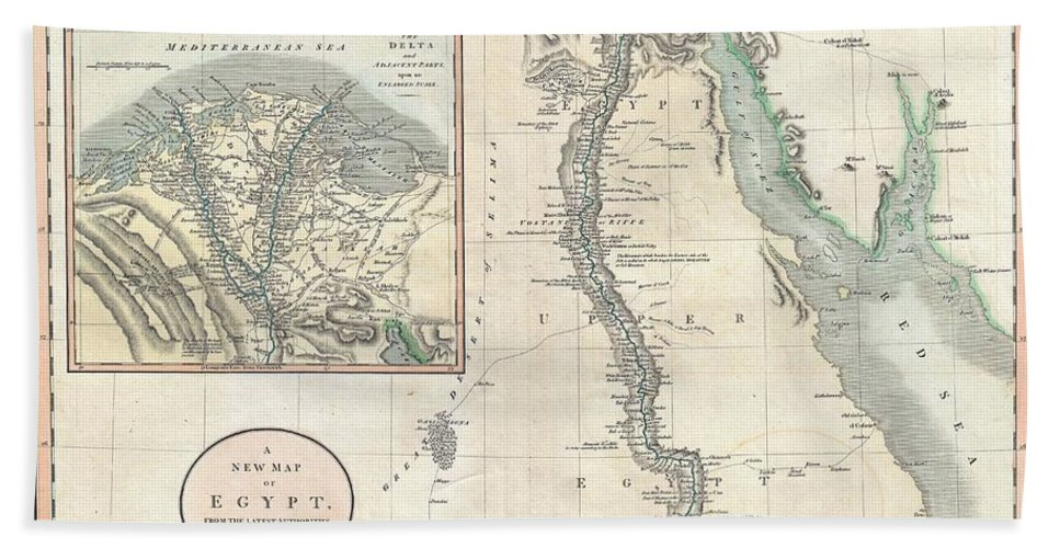 An Exceptionally Beautiful Example Of John Cary's Important 1805 Map Of The Egypt. Covers Egypt In Extraordinary Detail Focusing On The Course Of The Nile River Valley From The Delta Region South To Aswan. Notes The Sites Of Numerous Riverside Villages And Cities As Well As Important Ancient Egyptian Ruins Bath Sheet featuring the photograph 1805 Cary Map Of Egypt by Paul Fearn
