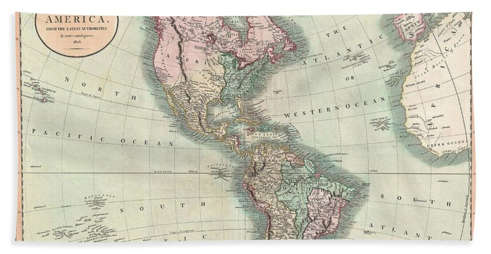 An Exceptionally Beautiful Example Of John Cary's Important 1806 Map Of North And South America. Covers The Entirety Of The Western Hemisphere With A Focus On North And South America. In North America The Fledgling United States Extends Westward Only So Far As The Mississippi River. Florida Is Divided At The Apalachicola River Into Eastern And Western Sections. West Florida Bath Sheet featuring the photograph 1806 Cary Map Of The Western Hemisphere North America And South America by Paul Fearn