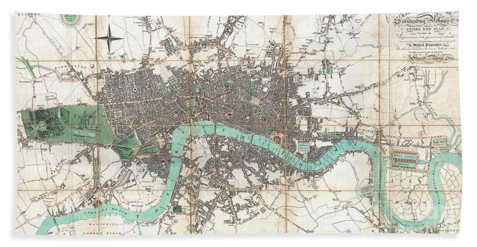 An Extraordinary First Edition Example Of Edward Mogg's Important 1806 Case Map Of London Bath Sheet featuring the photograph 1806 Mogg Pocket Or Case Map Of London by Paul Fearn