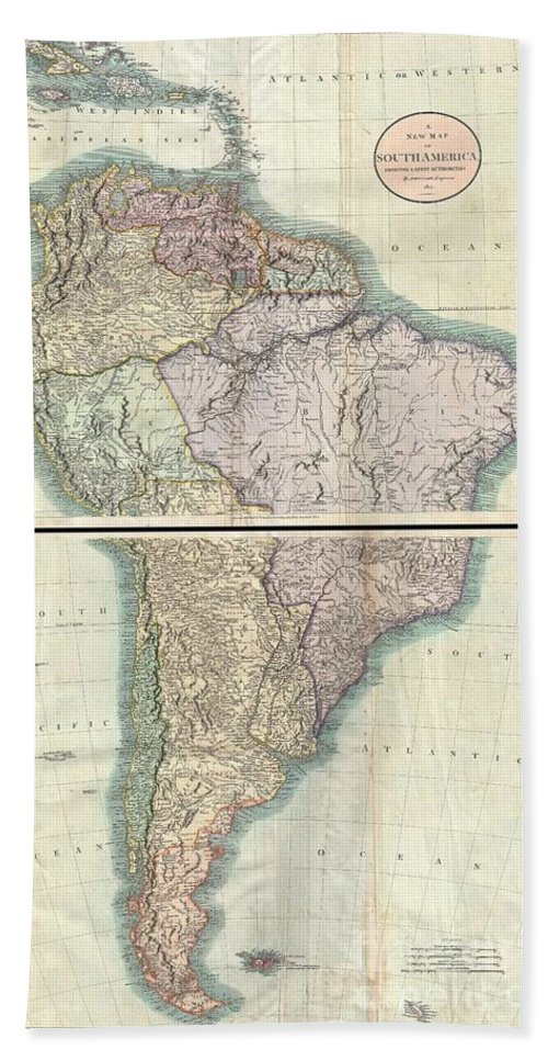 A Fine Example Of John Cary's Spectacular 1807 Two Sheet Map Of South America.  Covers The Entirety Of South America On Two Sheets. The Upper Sheet Details The Region From Cuba Southwards As Far As Lake Titicaca And Porto Bello Bath Sheet featuring the photograph 1807 Cary Map Of South America by Paul Fearn