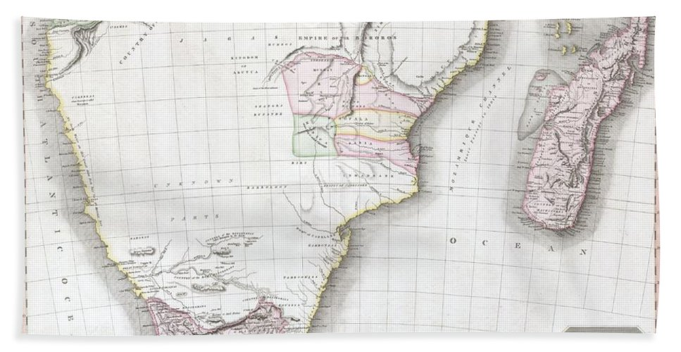 This Fascinating Hand Colored 1809 Map By Edinburgh Cartographer John Pinkerton Depicts Southern Africa. Covers Africa From Angola South To The Cape Colony (modern South Africa) And East To The Kingdom Of Mongall (modern Day Mozambique) And The Island Of Madagascar. Reflecting The Somewhat Limited Knowledge Of The African Interior Available To European Cartographers Of The Period Bath Sheet featuring the photograph 1809 Pinkerton Map Of Southern Africa by Paul Fearn