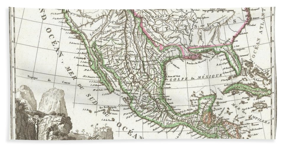 This Is An Unusual 1810 Map Of Mexico And The United States By The French Cartographer Ambrose Tardieu. Depicts All Of Mexico And Much Of The United States Shortly Following The Acquisition Of Louisiana But Prior To The Acquisition Of Florida Bath Sheet featuring the photograph 1810 Tardieu Map Of Mexico Texas And California by Paul Fearn