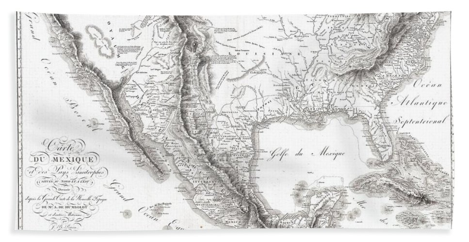 1811 Humboldt Map Of Mexico Bath Sheet featuring the photograph 1811 Humboldt Map Of Mexico Texas Louisiana And Florida by Paul Fearn