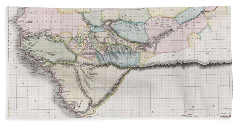 This Fascinating Hand Colored 1813 Map By Edinburgh Cartographer John Pinkerton Depicts Western Africa. Depicts Africa Roughly From The Salve Coast And Gold Coast West Through The Ivory Coast Bath Sheet featuring the photograph 1813 Pinkerton Map Of Western Africa by Paul Fearn