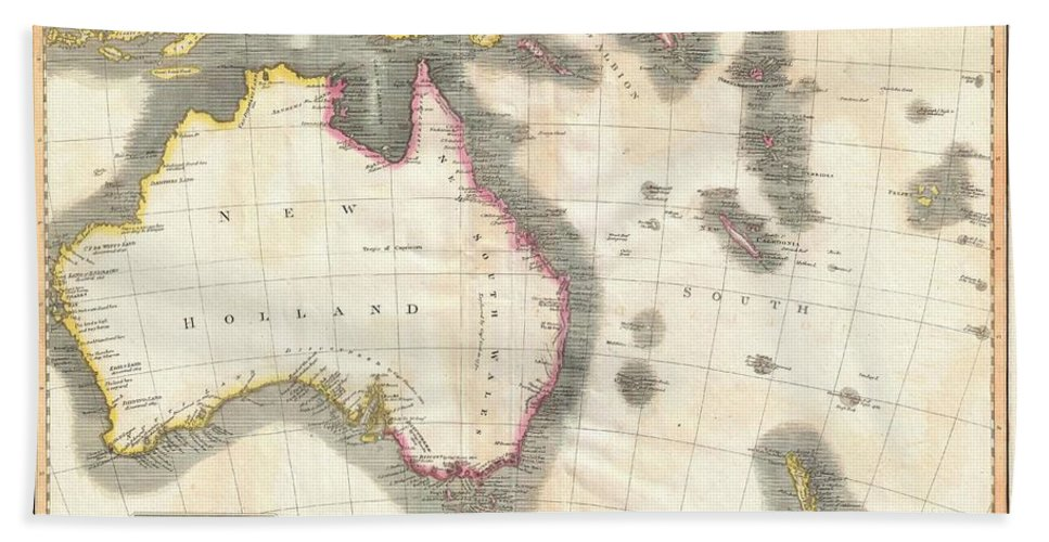 1814 Thomson Map Of Australia Bath Sheet featuring the photograph 1814 Thomson Map Of Australia New Zealand And New Guinea by Paul Fearn