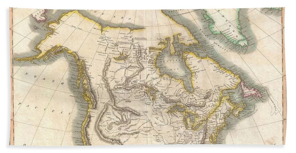 : This Beautiful Map Is John Thomson's Important 1814 Interpretation Of North America. This Map Covers From The Arctic Sea South To The Southern Tip Of Florida And The Northern Parts Of Mexico. Cartographically Thomson Draws Heavily From The Explorations Of Samuel Herne Bath Sheet featuring the photograph 1814 Thomson Map Of North America by Paul Fearn
