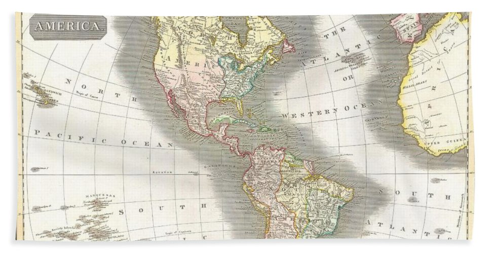 This Fascinating Hand Colored 1815 Map By Edinburgh Cartographer John Thomson Depicts North And South America Bath Sheet featuring the photograph 1814 Thomson Map Of North And South America by Paul Fearn