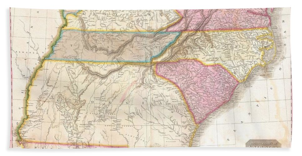 1818 Pinkerton Map Of The Southeastern United States Bath Towel for ...