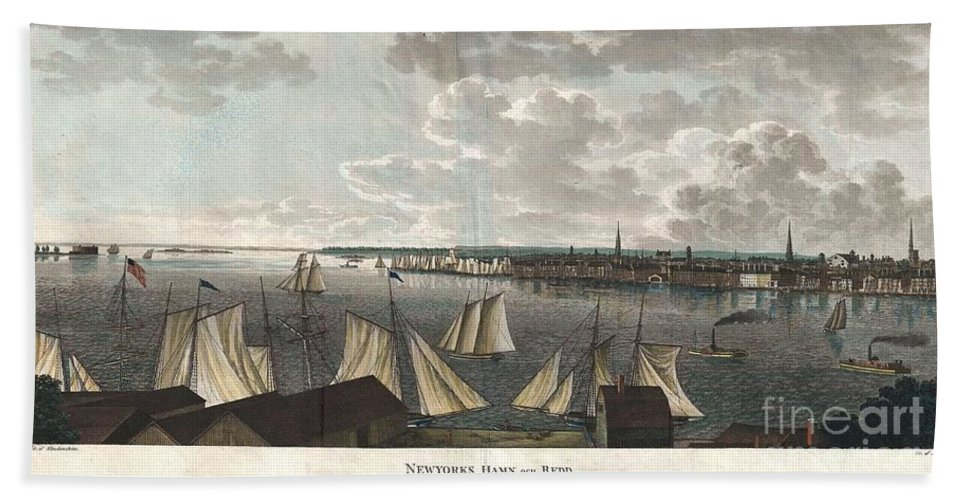 """A Fine And Highly Desirable 1824 Aquatint Of New York City And Harbor As Seen From Brooklyn. Based On A Drawing Composed By The Swedish Naval Officer Baron Axel Leonhard Klinkowström On His 1818 – 1820 Tour Of The United States. Klinkowström Was Sent To New York To Assess The Strategic Value Of The Newly Invented Steam Ship For The Use By The Swedish Navy. Accordingly This Stunning View Shows An Assortment Of Sail And Steam Ships Plying The New York Harbor. Stokes Notes That This """"view Is Interesting Particularly As Showing The Types Of Steam Ferries And Sail-boats In Use At This Period."""" No Description Of This Print Bath Sheet featuring the photograph 1824 Klinkowstrom View Of New York City From Brooklyn by Paul Fearn"""