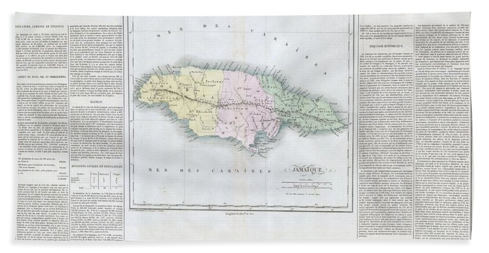This Is A Stunning 1825 Map Of Jamaica Bath Sheet featuring the photograph 1825 Carez Map Of Jamaica by Paul Fearn
