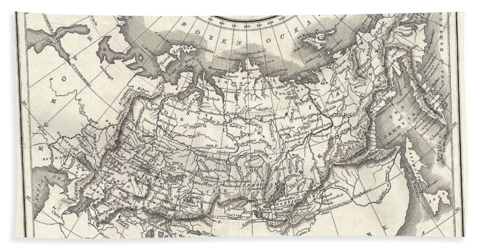 This Is A Fine 1826 Map Of Russia In Asia Bath Sheet featuring the photograph 1826 Assheton Map Of Russia In Asia by Paul Fearn