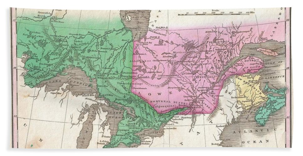 This Is Finley's Desirable 1827 Map Of Canada. Covers The Upper Canada (ontario) And Lower Canada (quebec) Bath Sheet featuring the photograph 1827 Finley Map Of Canada by Paul Fearn