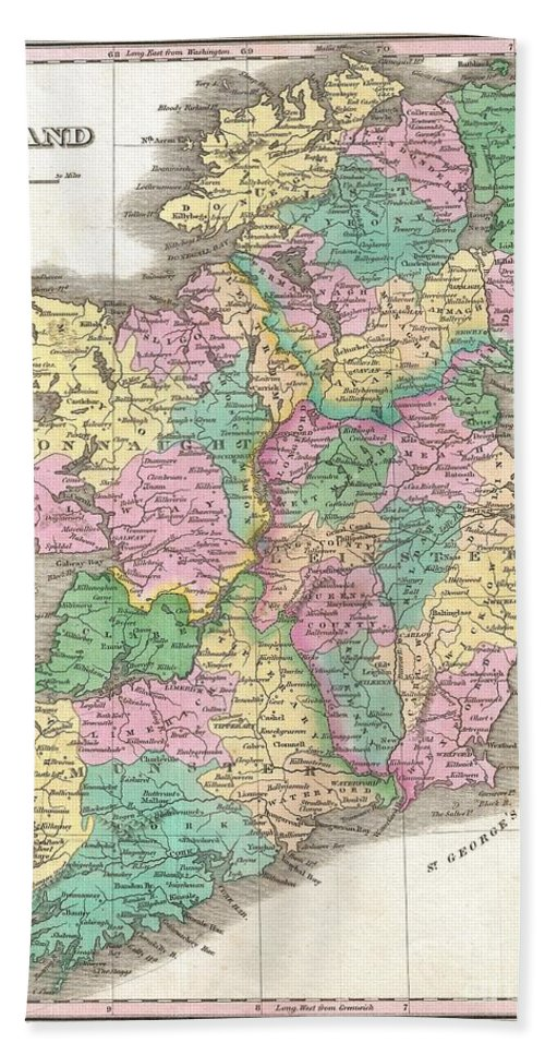 This Is Finley's Desirable 1827 Map Of Ireland. Shows River Ways Bath Sheet featuring the photograph 1827 Finley Map Of Ireland by Paul Fearn