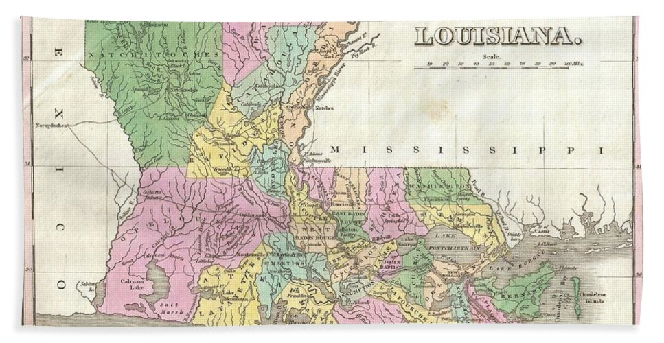 A Beautiful Example Of Finley's Important 1827 Map Of Louisiana. Shows Early County Configuration. Depicts The State With Moderate Detail In Finley's Classic Minimalist Style. Shows River Ways Bath Sheet featuring the photograph 1827 Finley Map Of Louisiana by Paul Fearn