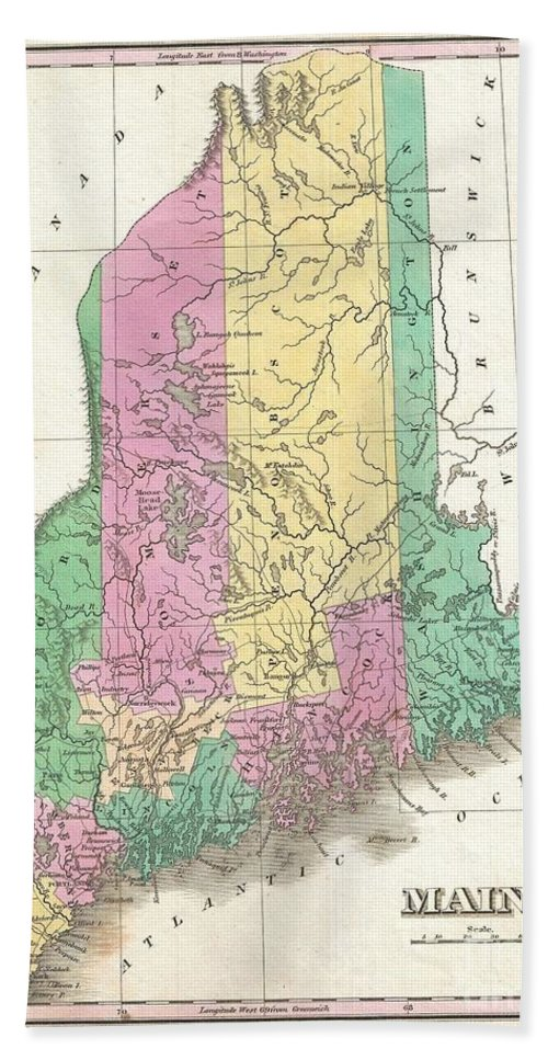 A Beautiful Example Of Finley's Important 1827 Map Of Maine And Possibly The Most Interesting Of The This Series. Shows Early County Configuration. Depicts The State With Moderate Detail In Finley's Classic Minimalist Style. Shows River Ways Bath Sheet featuring the photograph 1827 Finley Map Of Maine by Paul Fearn