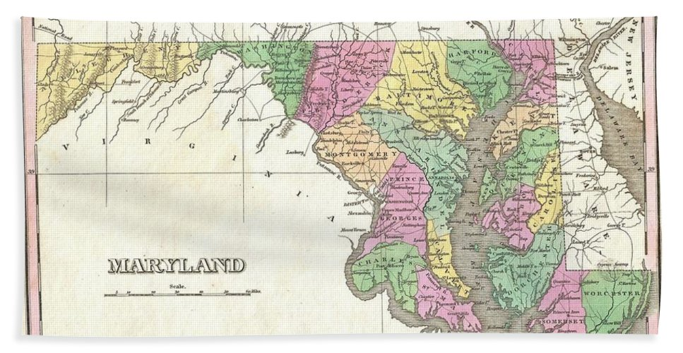 A Beautiful Example Of Finley's Important 1827 Map Of Maryland. This Rare Map Plate Configuration Depicts The State Individually Rather Than Bundled With Delaware Or Virginia - As Is More Common. Depicts The State With Moderate Detail In Finley's Classic Minimalist Style. Shows River Ways Bath Sheet featuring the photograph 1827 Finley Map Of Maryland by Paul Fearn
